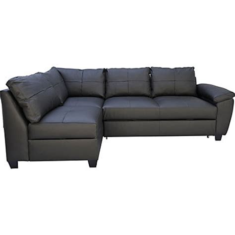 sofas homebase fernando leather left hand corner sofa bed black
