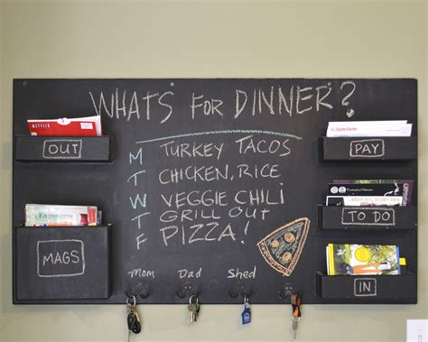 kitchen message board ideas chalkboard mail organizer large wall mounted mail pockets