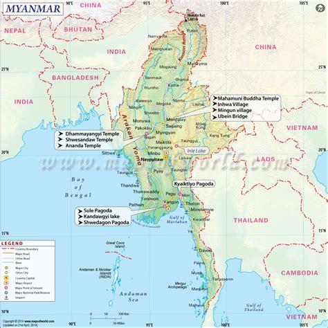 Myanmar Map   Map of Myanmar