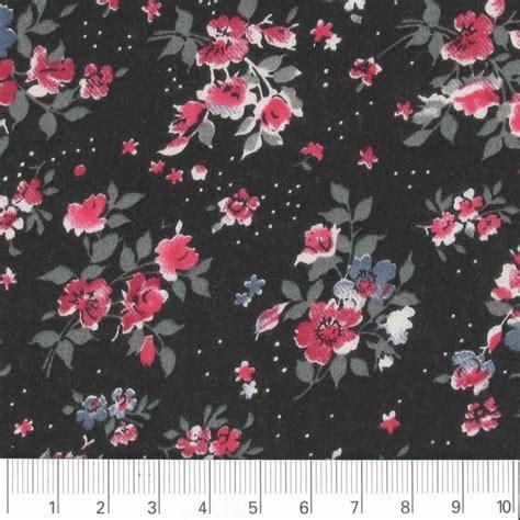 tessuto a fiori tessuto twill viscosa a fiori nero x10cm perles co