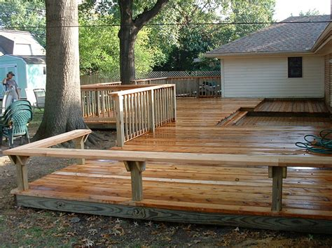 deck railing with bench seating decks broken arrow tulsa ok custom deck builder tulsa