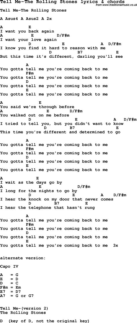 stones lyrics song lyrics for tell me the rolling stones with chords
