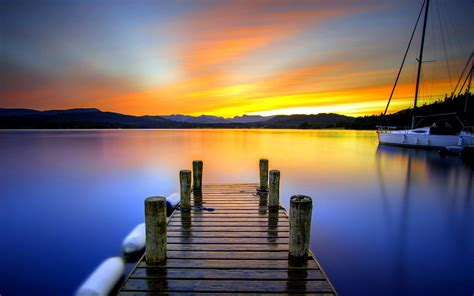 sunset pier wallpaper