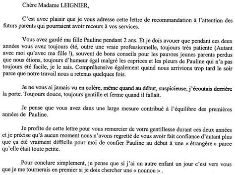 Exemple De Lettre De Recommandation Pour Une Thèse Exemple Lettre De Recommandation Nourrice Document