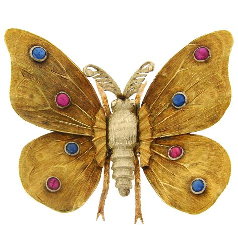 Butterfly Gold 1950s mario buccellati ruby sapphire yellow gold butterfly