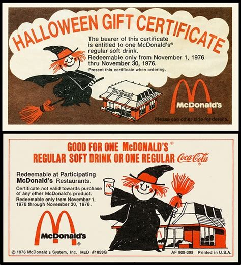 printable mcdonalds gift certificates pin by melanie wybrecht on double double toil and trouble