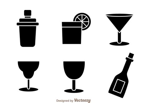 cocktail icon vector black cocktail icons free vector stock