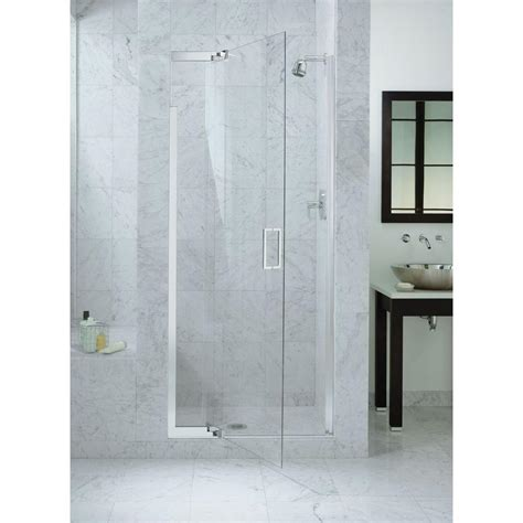 Glass Pivot Bathtub Doors by Kohler Purist 33 In X 72 In Heavy Semi Frameless Pivot Shower Door In Bright Silver With Clear