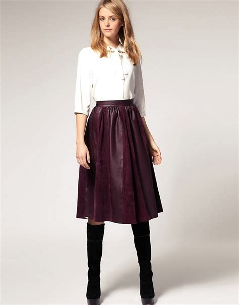 asos asos midi skirt in leather and suede