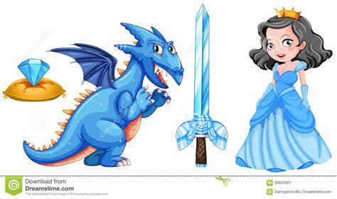 el drag 243 n y la princesa cuentos de hadas fijados con la princesa y el drag 243 n ilustraci 243 n del vector imagen 58923561