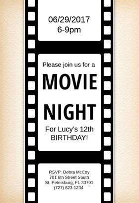 printed ticket font movie night printable invitation template customize add