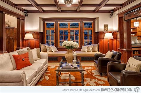mission style living room 15 warm craftsman living room designs decoration for house