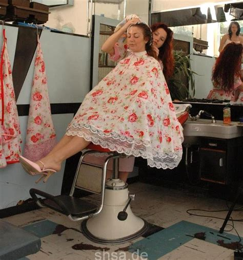 getting her barbered lovely floral cape salon capes pinterest cape perm