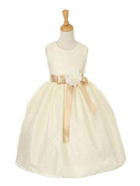 ivory pick your ribbon sash elegant lace flower dress