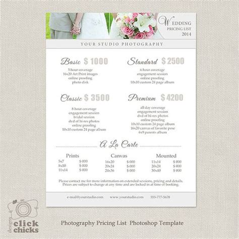 Wedding Photography Package Pricing List Template Photography Pricing Guide Price List Photography Price Sheet Template