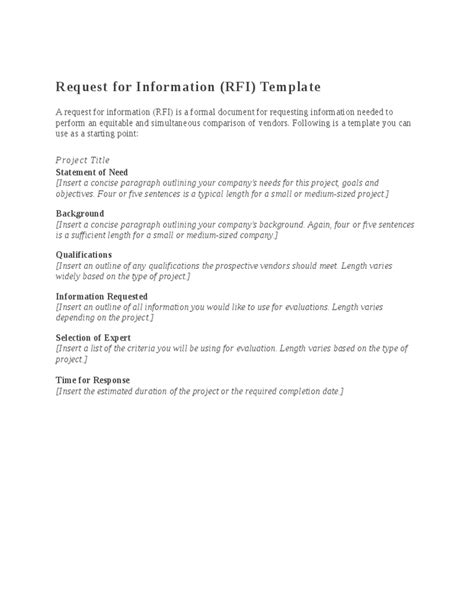 Request For Information Rfi Template by Request For Information Rfi Template Hashdoc