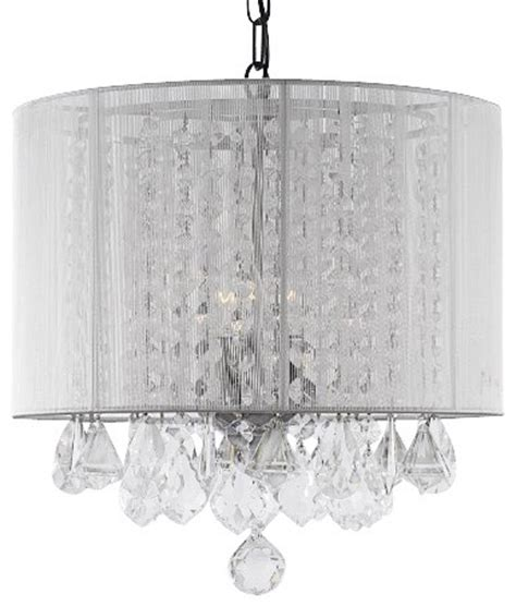 White Chandelier With Shades Chandelier With White Shade Transitional Chandeliers By Gallery
