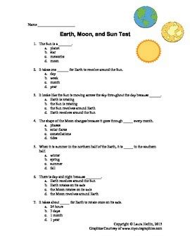 Earth Moon Sun Space Test Assessment 3rd 4th 5th 6th