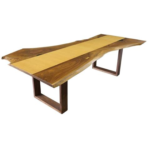 Slab Dining Room Table sentient live edge black walnut slab dining table with red