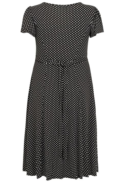 Code Dot Top Black Import black white polka dot dress with self tie waist sleeves plus size 16 to 36