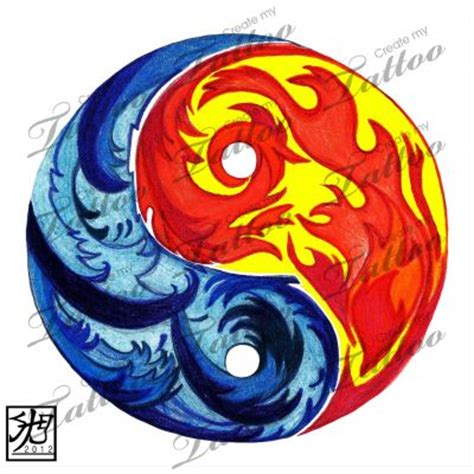 fire and ice tattoo designs marketplace and yin yang 7310