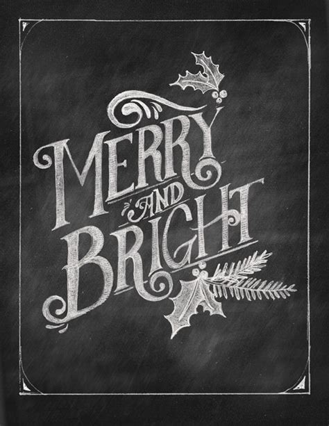 printable chalkboard art items similar to merry bright chalkboard art printable