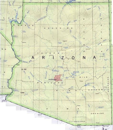 arizona state in usa map map of arizona arizona map vidiani maps of all