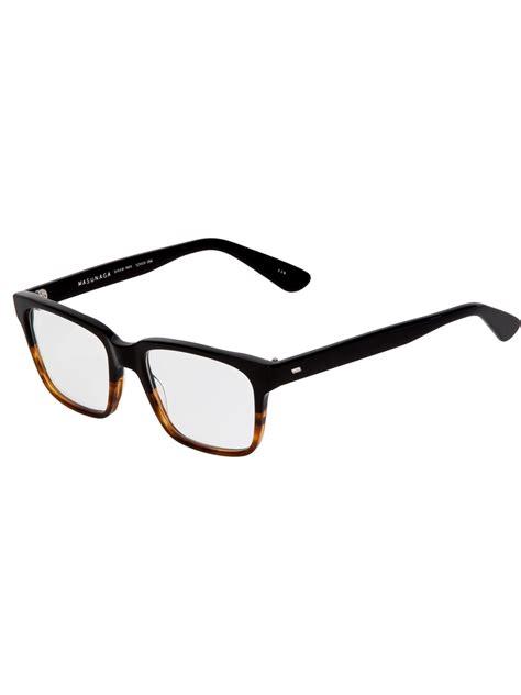 masunaga rectangle frame glasses in black for lyst