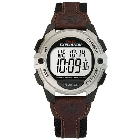 timex 174 s digital expedition brown leather and black canvas t49571um in brown for