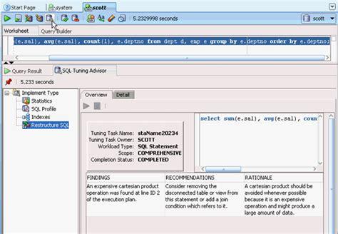 sql query tuning tutorial sql tuning advisor
