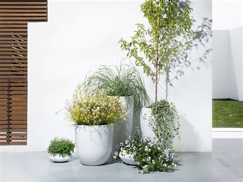 White Outdoor Planters Planter Plant Pot Vase Outdoor Indoor White 38x38x80 Cm