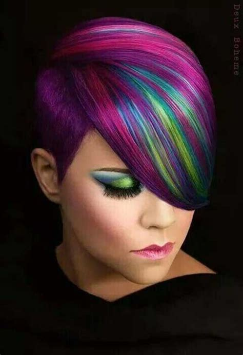 multie colored bob hair styles short hairstyles with color streaks the best short