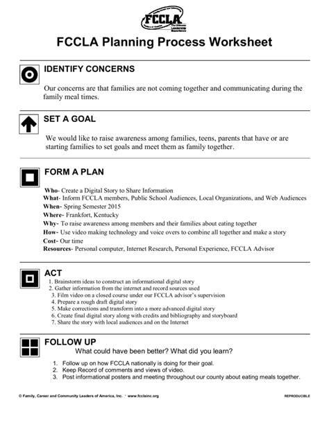 fccla planning process template fccla planning process worksheet wiildcreative