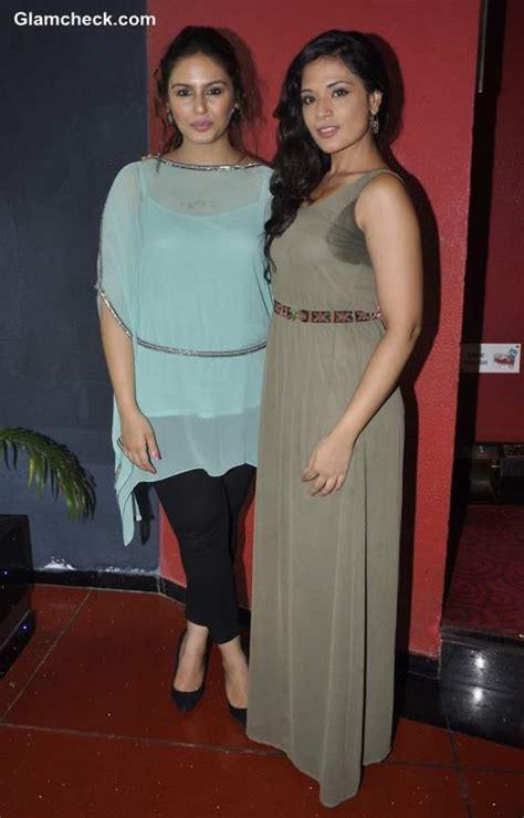richa chadda huma qureshi huma qureshi fresh in turquoise top at shorts unveiling