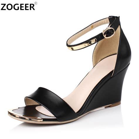 Black Open Toe High Wedges Import 1 2017 summer high heels sandals open toe wedges heels sandals concise dress shoes