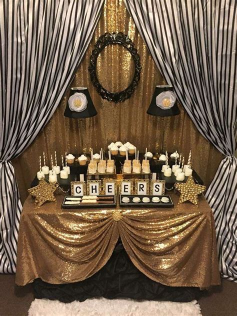party themes black black and white stripes with gold sparkle birthday party