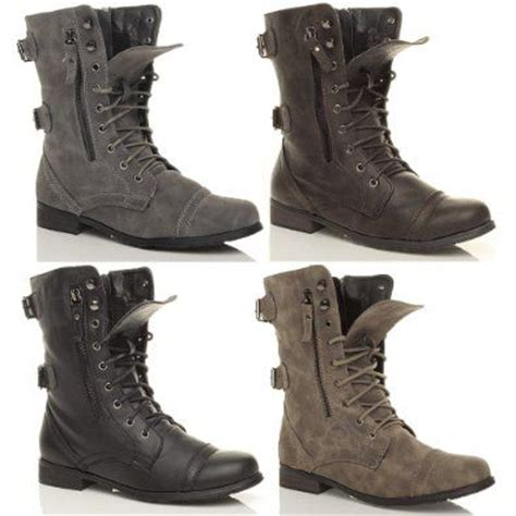 womens brogue combat army lace up zip