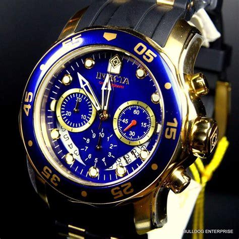 Mens Invicta Pro Diver Scuba Gold Plated Blue Chronograph Rubber 48mm Watch New 843836069830   eBay