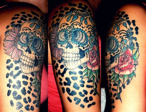 roses and leopard print tattoo sugar skull leopard print gerbera roses tattoos