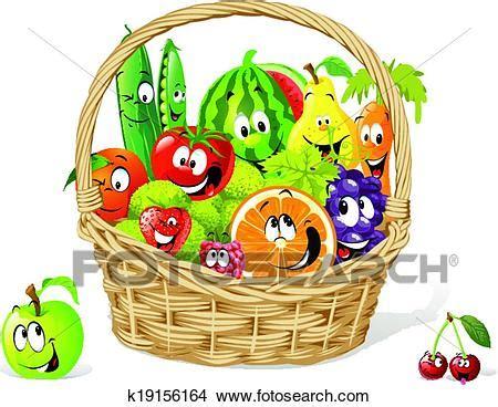 clipart frutta clipart cesto di felice frutta e verdura k19156164
