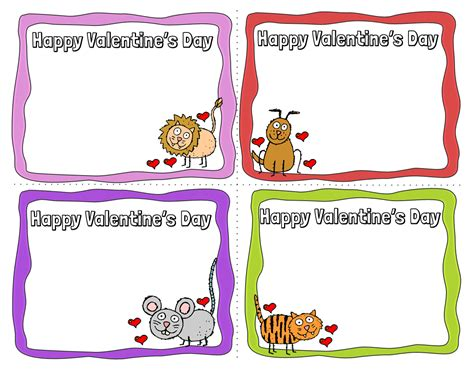 free printable animal valentines day cards animal valentine s day cards 8 free printable cards