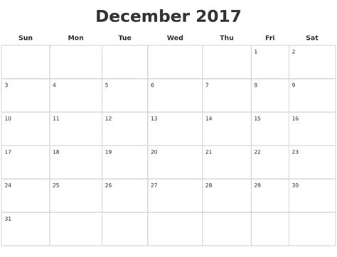 printable calendar page december 2017 december calendars