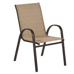 Outdoor Dining Chair Hton Bay Mix And Match Stackable Sling Outdoor Dining Chair In Cafe Fcs00015j W The Home Depot