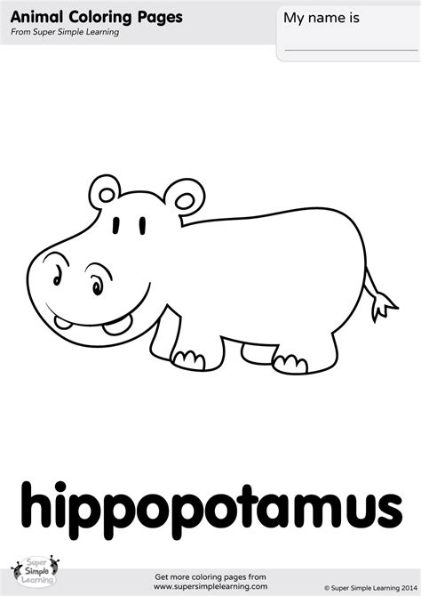 Hippopotamus Coloring Page by Hippopotamus Coloring Page Simple