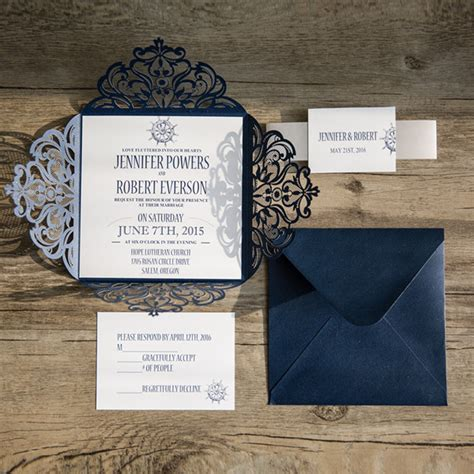 Wedding Invitations Navy by Classic Nautical Navy Blue Laser Cut Wedding Invitations
