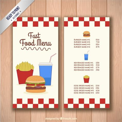 Fast Food Menu Template Vector Free Download Food Menu Template Free