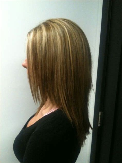 medium hairstyles with partial highlights partial blonde highlight with light brown all over color