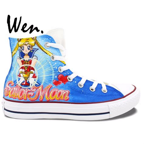 create sneakers wen blue anime painted shoes sailor moon s
