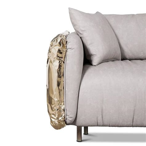 Gold Sofas For Sale by Gold Safe Sofa With Hammered Polished Brass For Sale At