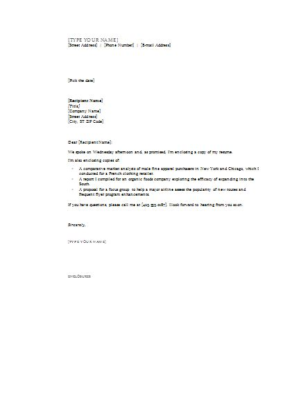 cover letter enclosures cover letters templates